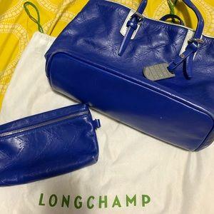 Rare blue / silver Longchamp tote